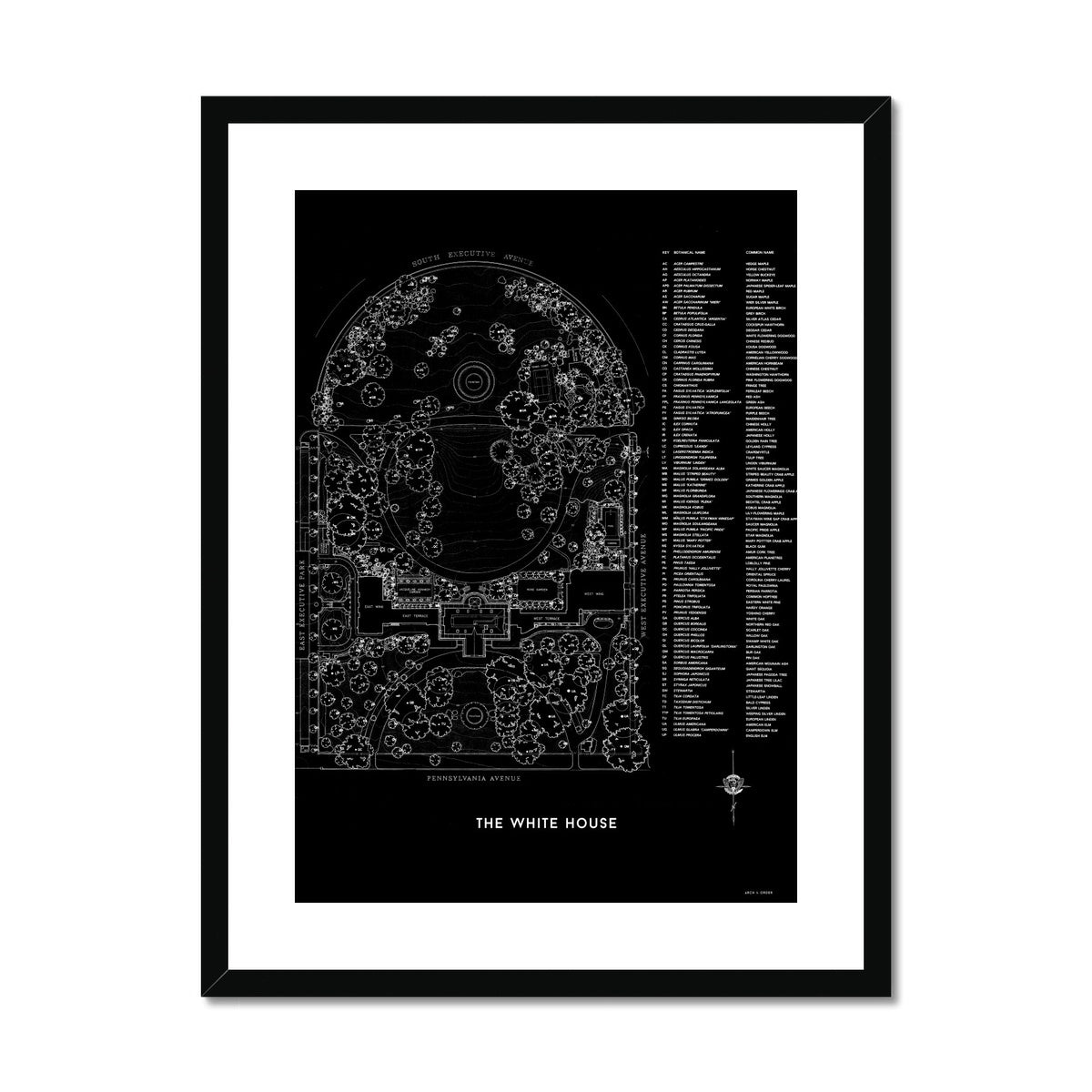 The White House Landscaping Plan - Black -  Framed & Mounted Print