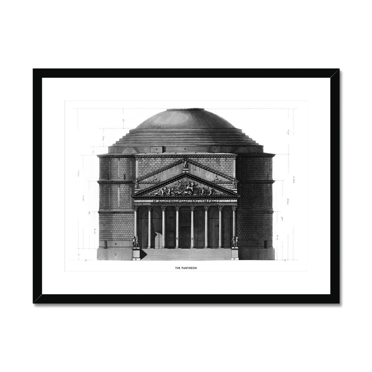 The Pantheon - Primary Elevation -  Framed & Mounted Print