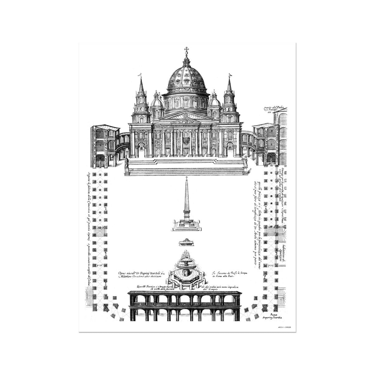 Saint Peter's Basilica - Site Plan - White -  Etching Paper Print