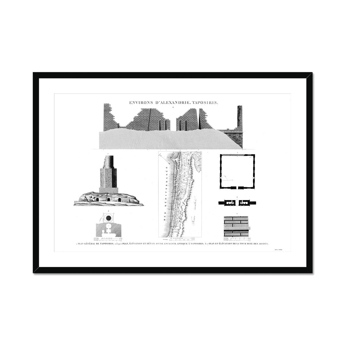 Plan of Taposiris - Alexandria Egypt -  Framed & Mounted Print