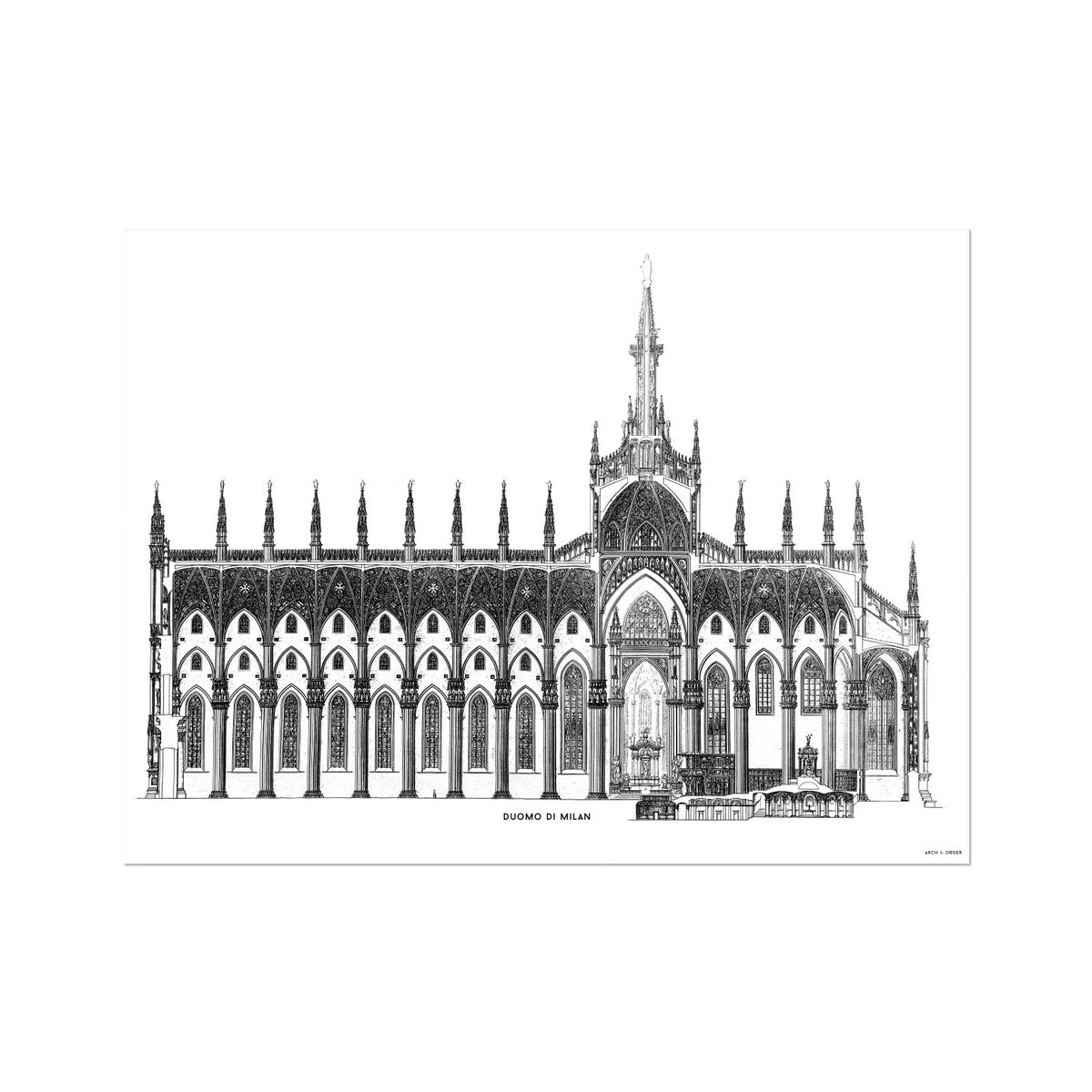 The Milan Cathedral - Side Elevation Cross Section - White -  Etching Paper Print