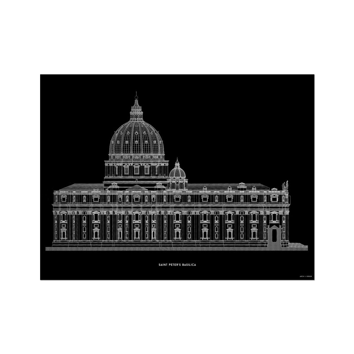Saint Peter's Basilica - Side Elevation - Black -  Etching Paper Print
