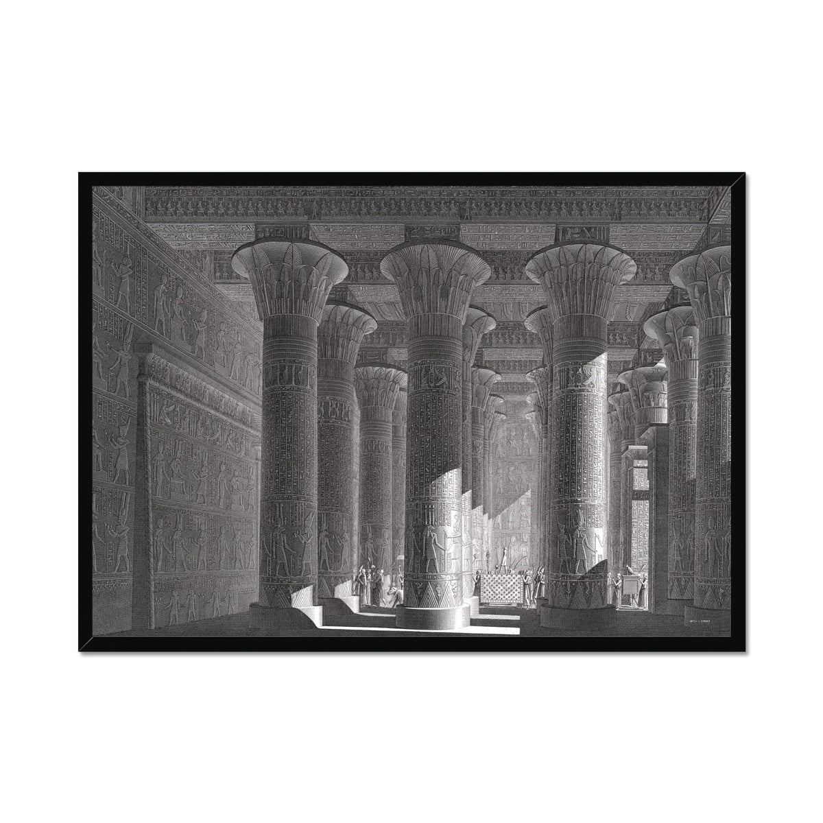 Temple of Khnum Portico Interior - Esna Egypt -  Framed Print