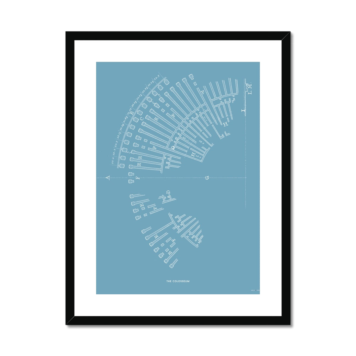 The Colosseum - Ruins Overview - Blue -  Framed & Mounted Print