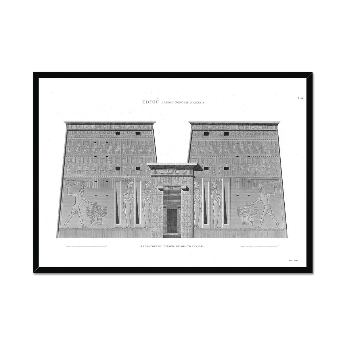 Temple of Horus Primary Elevation - Edfu Egypt -  Framed Print