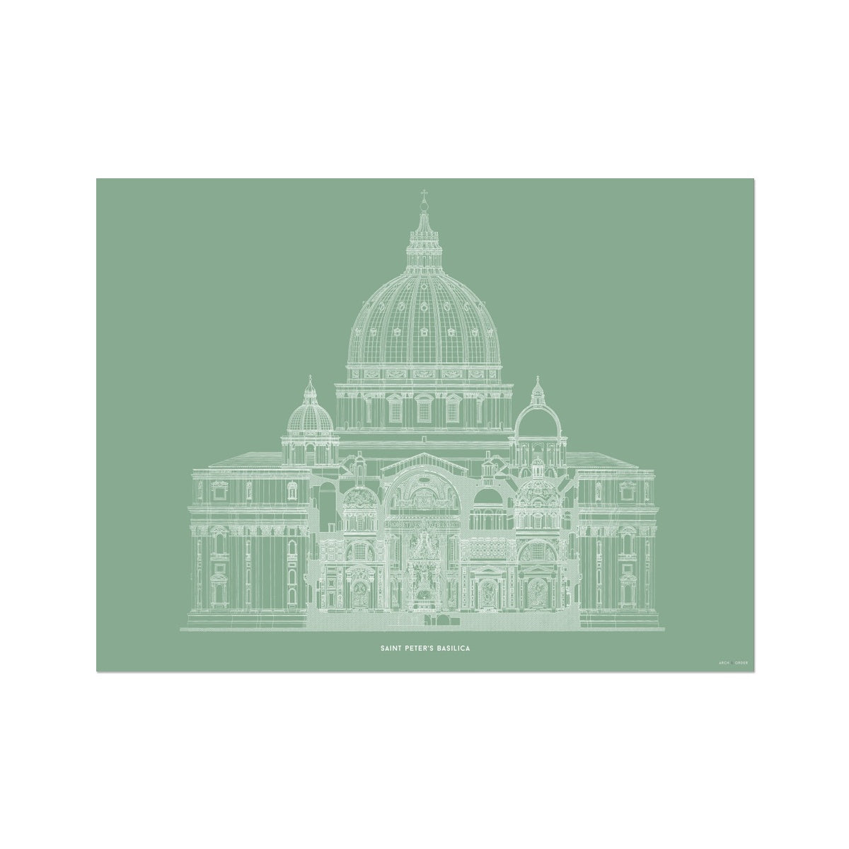 Saint Peter's Basilica - Primary Elevation Cross Section - Green -  Etching Paper Print