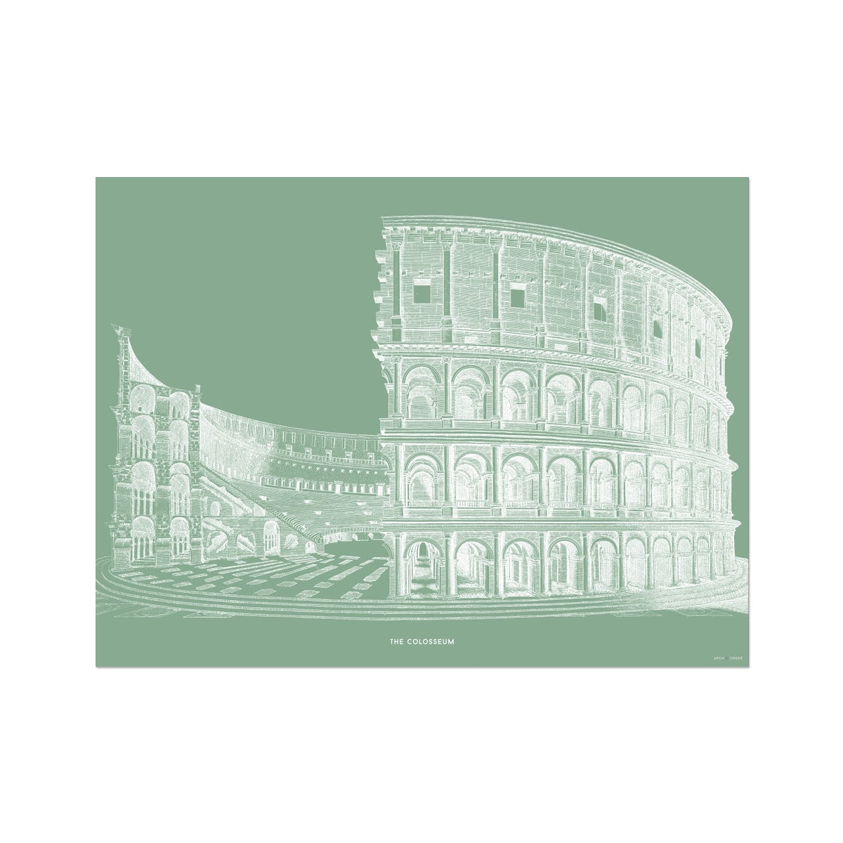 The Colosseum - Cross Section - Green -  Etching Paper Print