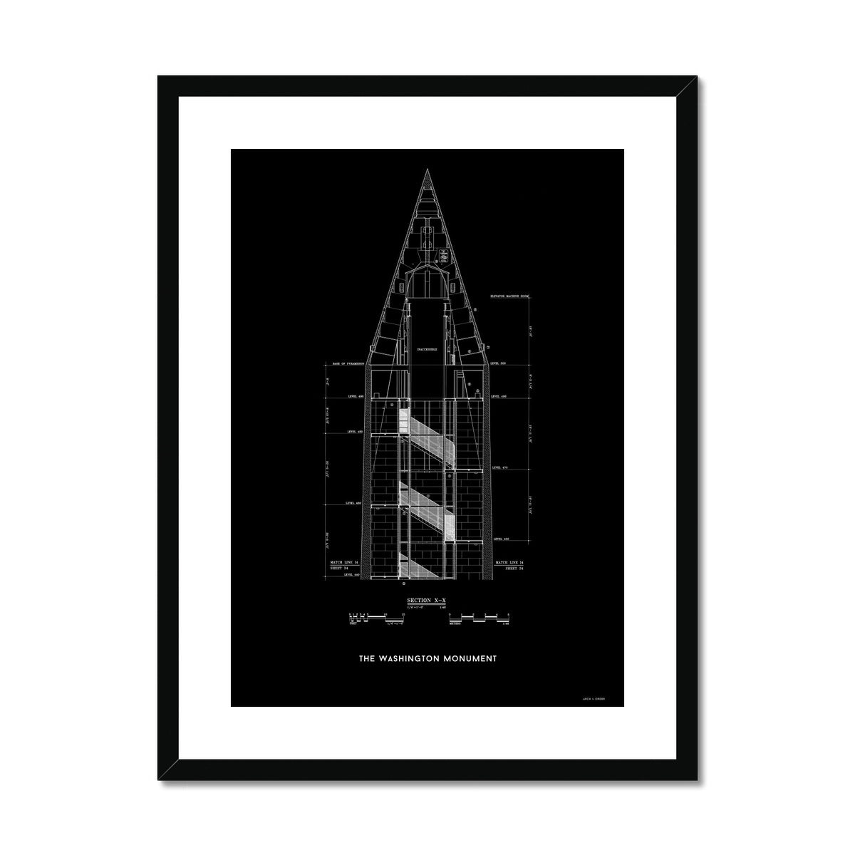 The Washington Monument Top Cross Section - Black -  Framed & Mounted Print