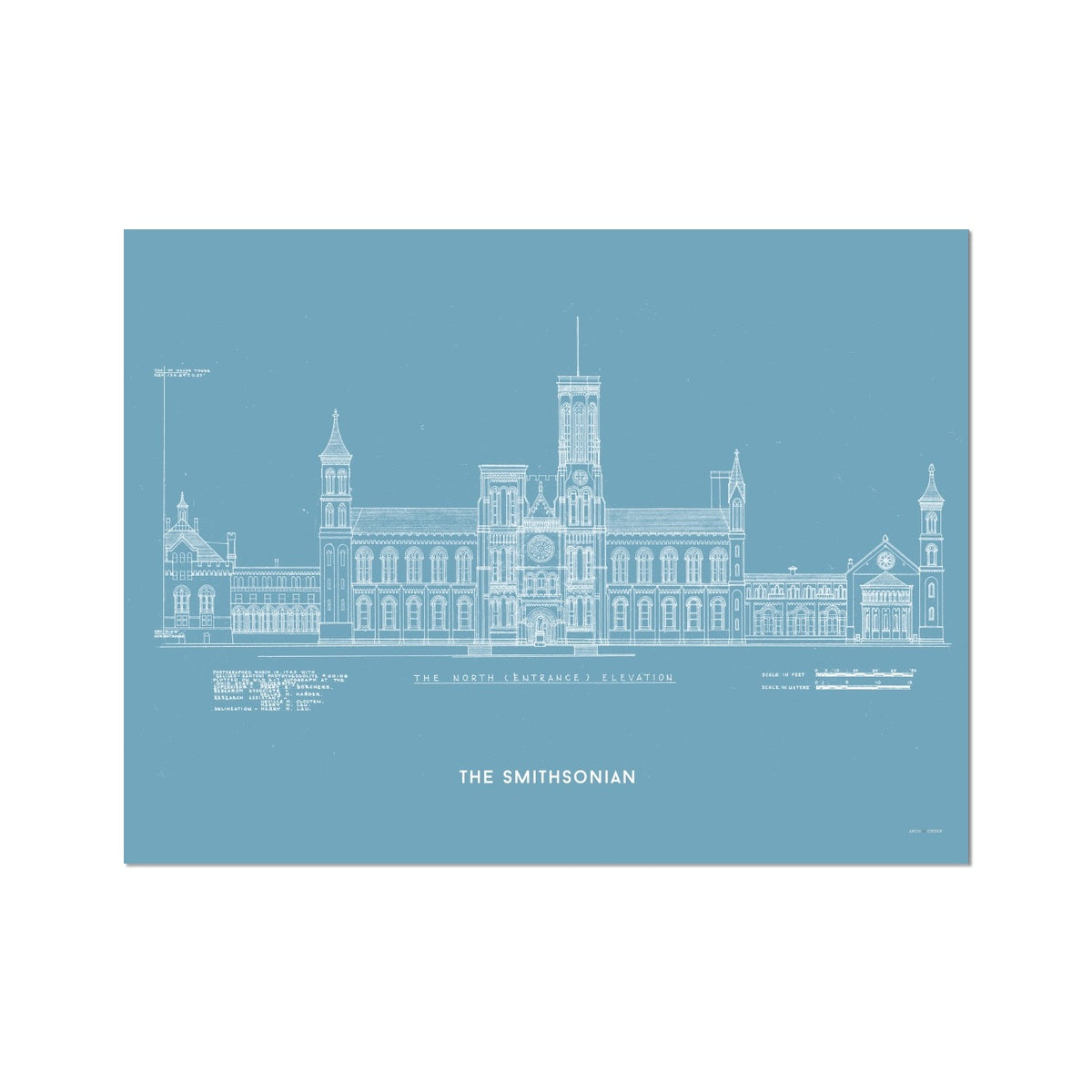 The Smithsonian North Elevation - Blue -  Etching Paper Print