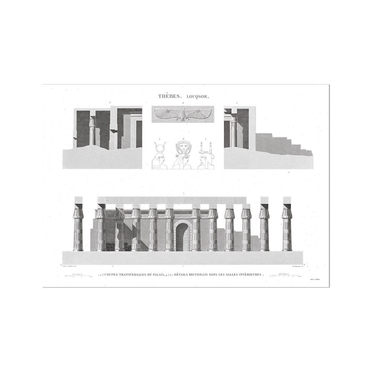 Cross Section of the Palace 2 - Luxor - Thebes Egypt -  Etching Paper Print
