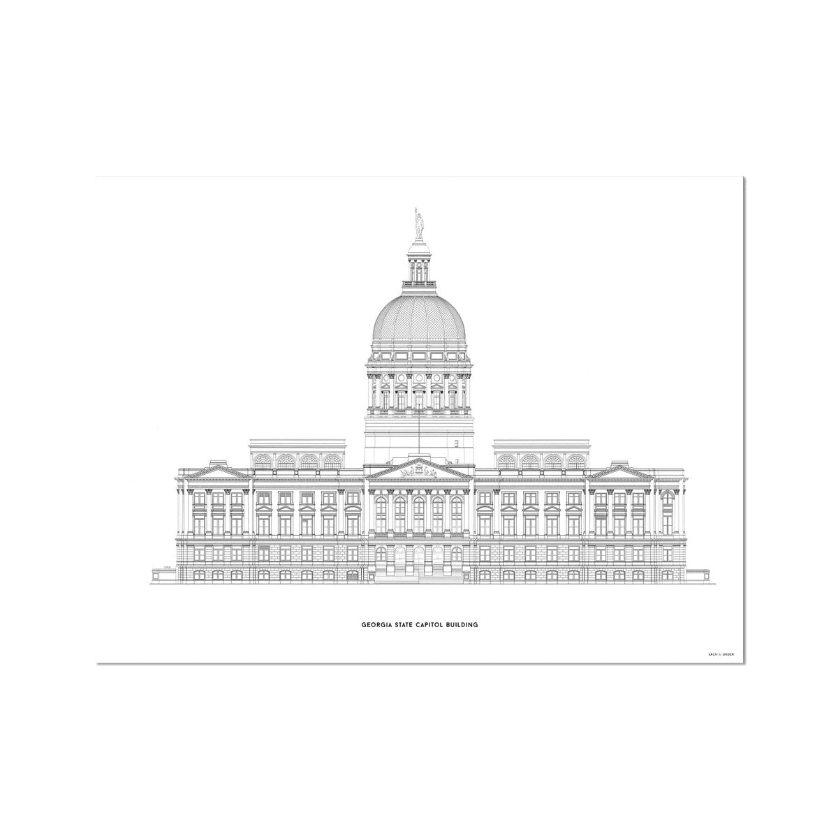 The Georgia State Capitol Building - West Elevation - White -  Etching Paper Print