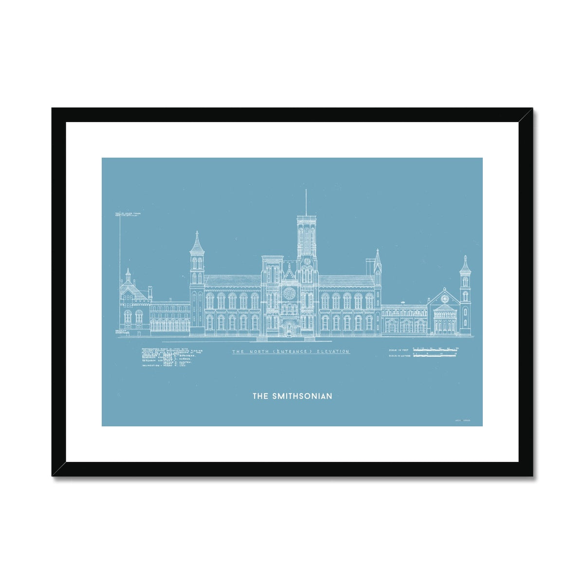 The Smithsonian North Elevation - Blue -  Framed & Mounted Print
