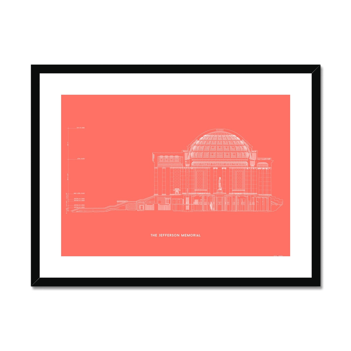 The Jefferson Memorial West Elevation Cross Section - Red -  Framed & Mounted Print