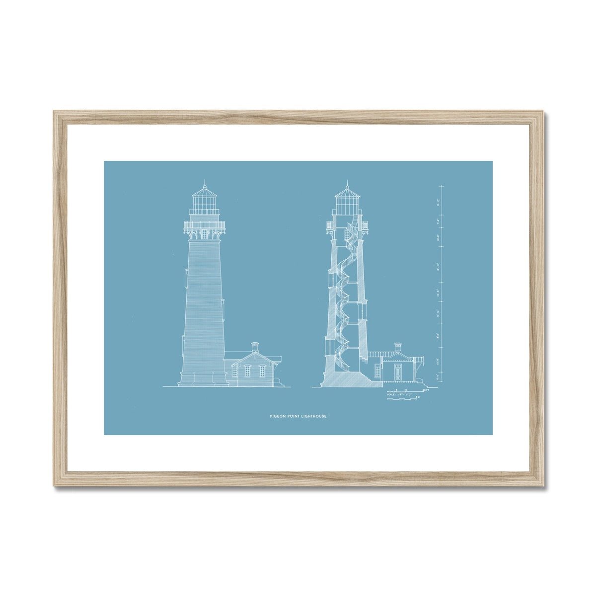 Pigeon Point Lighthouse - Southeast Elevation and Cross Section - Blue -  Framed & Mounted Print