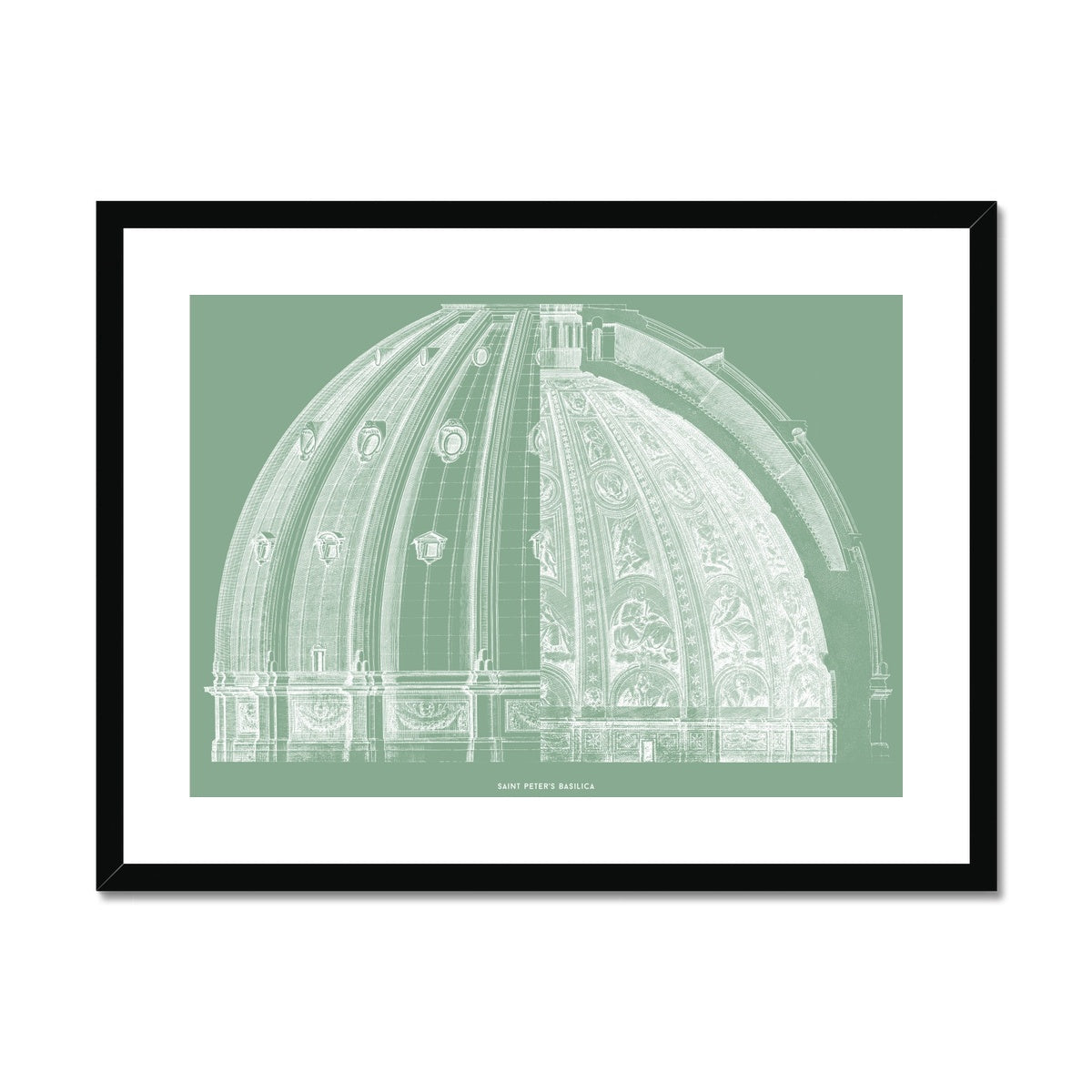 Saint Peter's Basilica - Dome Cross Section - Green -  Framed & Mounted Print