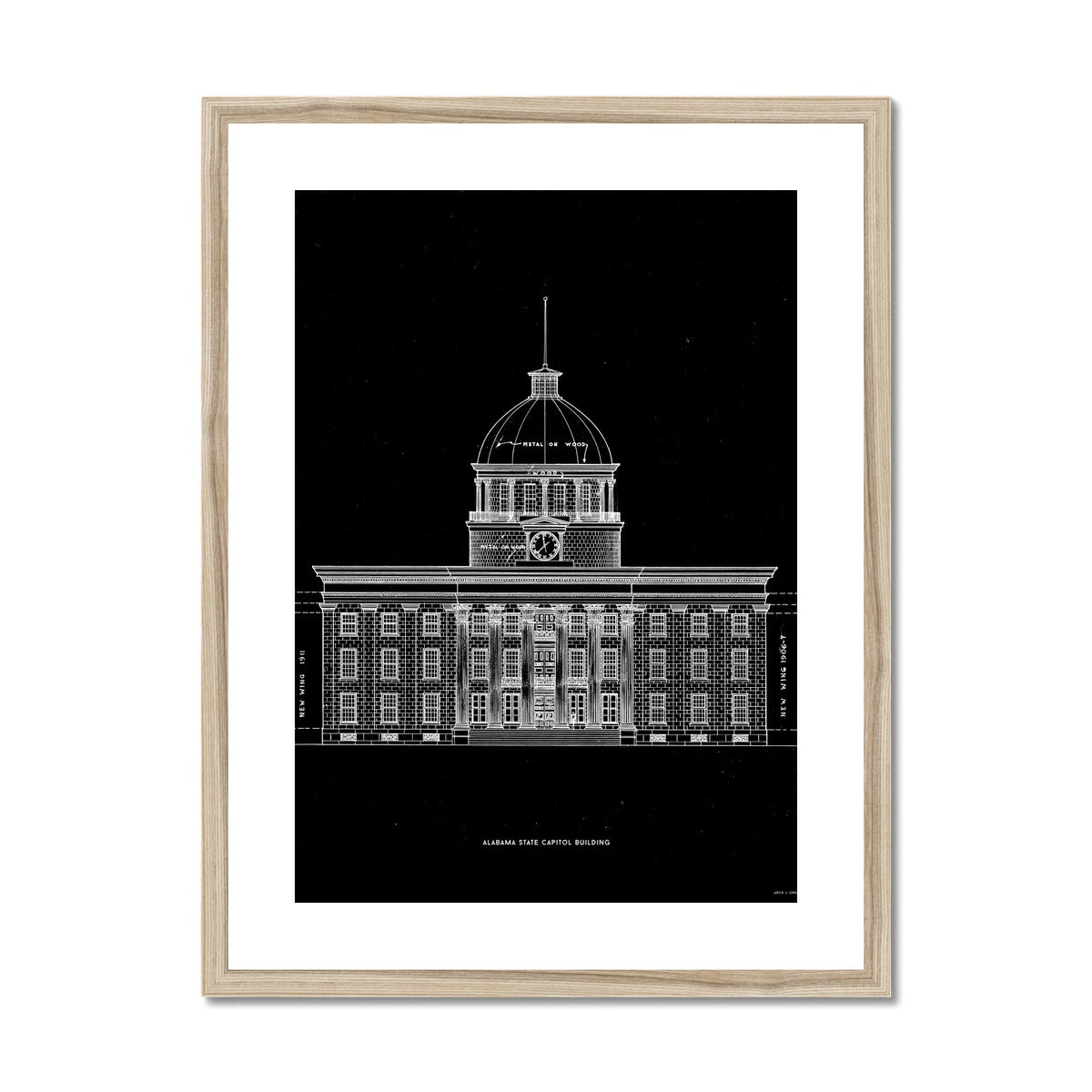 The Alabama State Capitol Building - West Elevation - Black -  Framed & Mounted Print