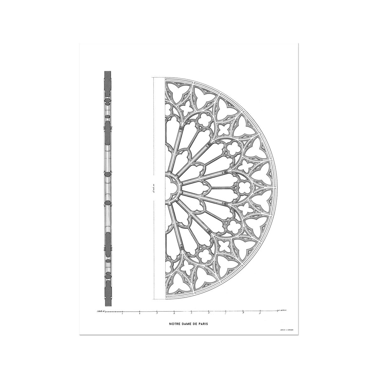 Notre Dame de Paris - South Rose Window Detail - White -  Etching Paper Print