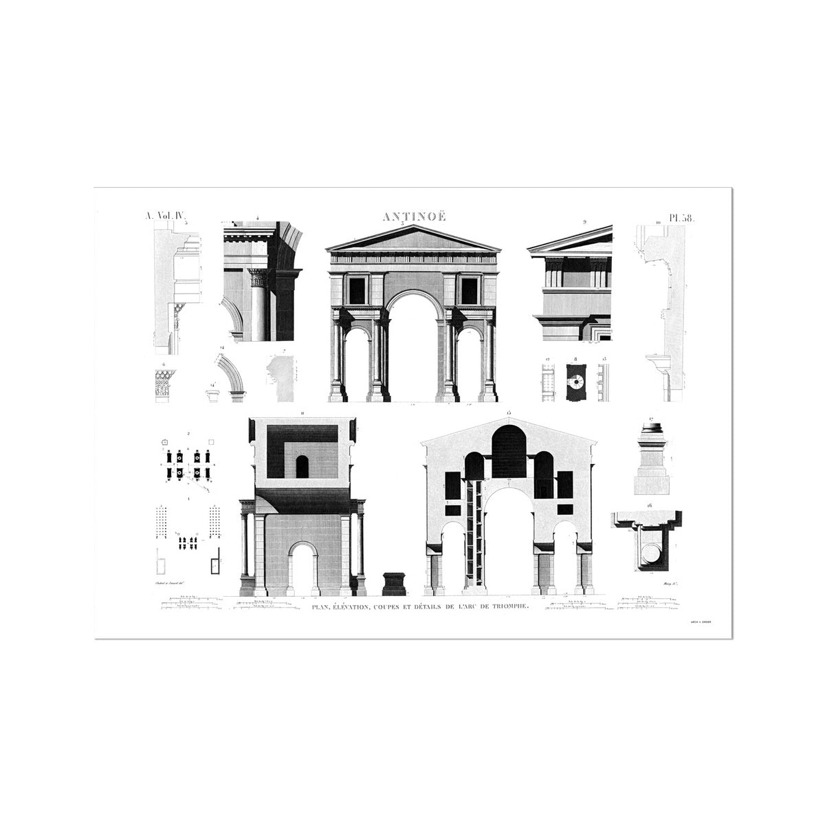 Triumphal Arch Elevation - Antinoöpolis Egypt -  Etching Paper Print