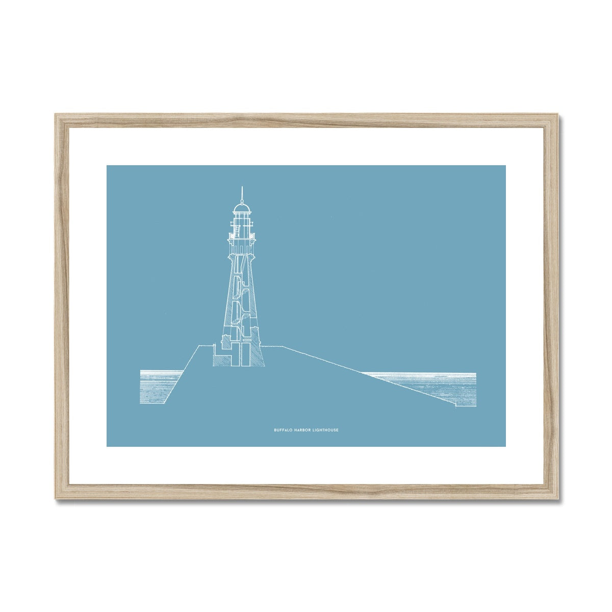 Buffalo Harbor Lighthouse - Cross Section - Blue -  Framed & Mounted Print