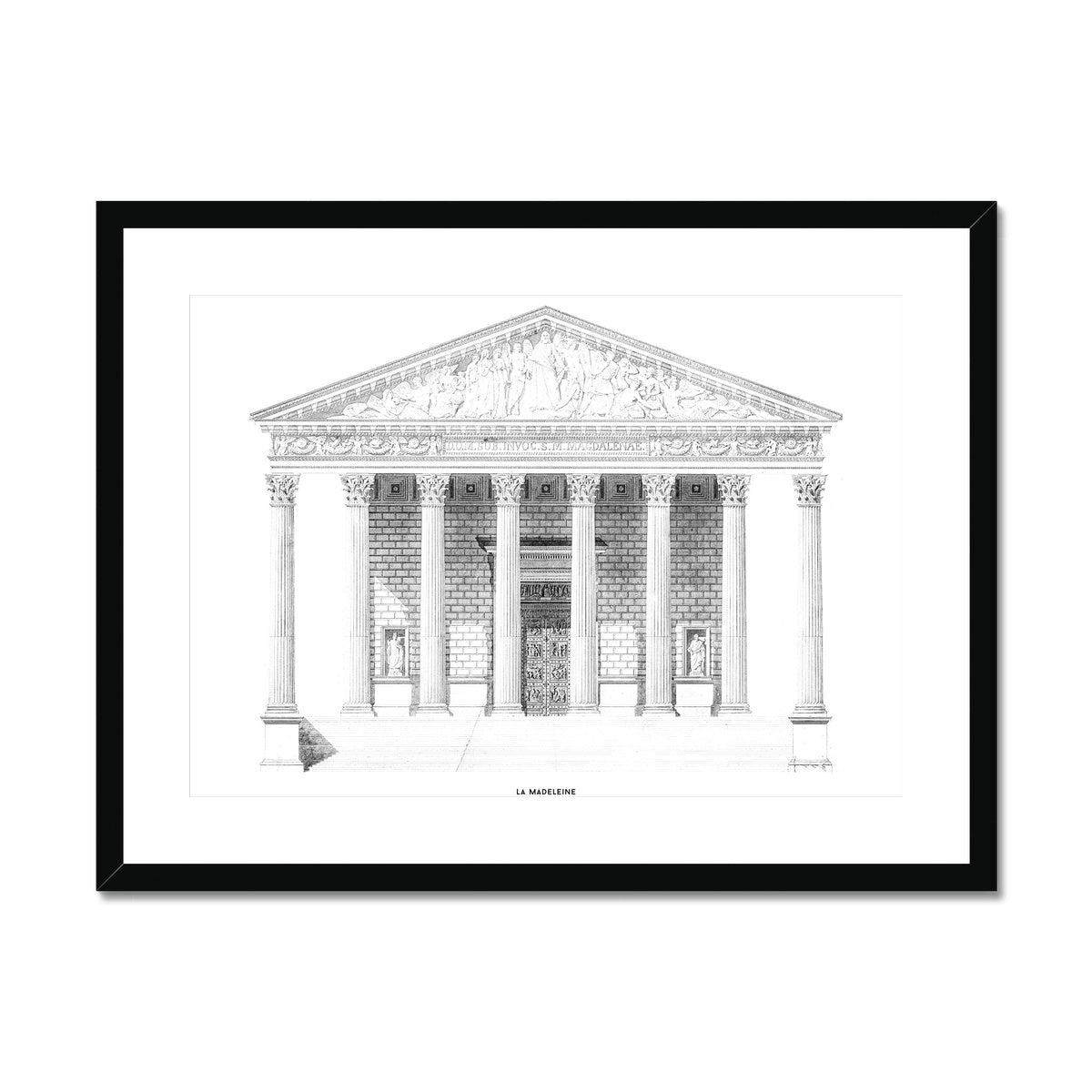 La Madeleine - Primary Elevation - White -  Framed & Mounted Print