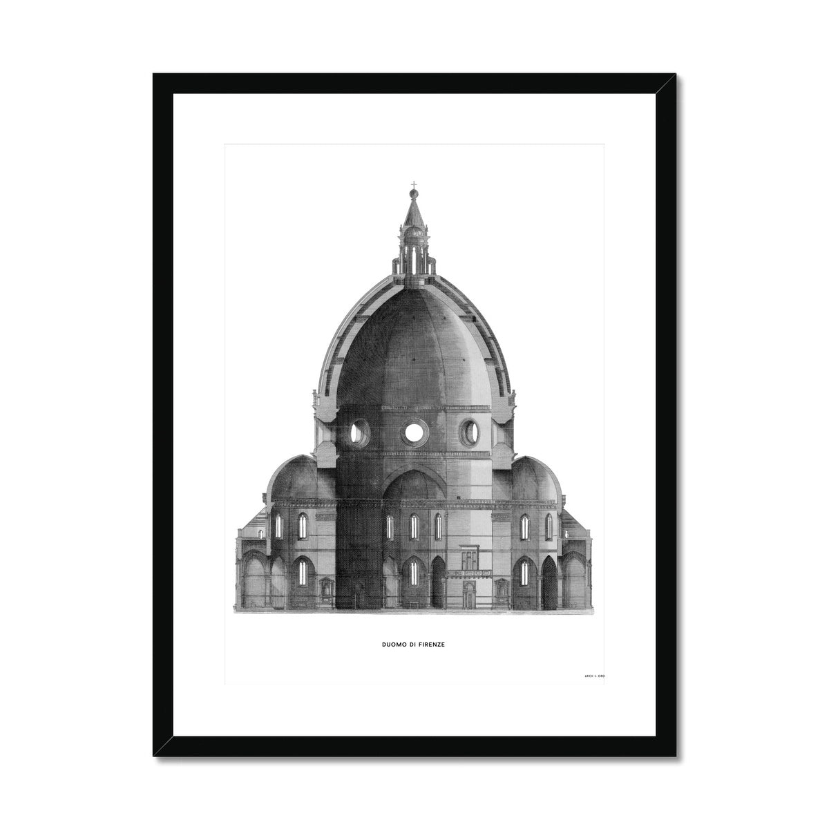 Duomo di Firenze - Primary Elevation Cross Section - White -  Framed & Mounted Print