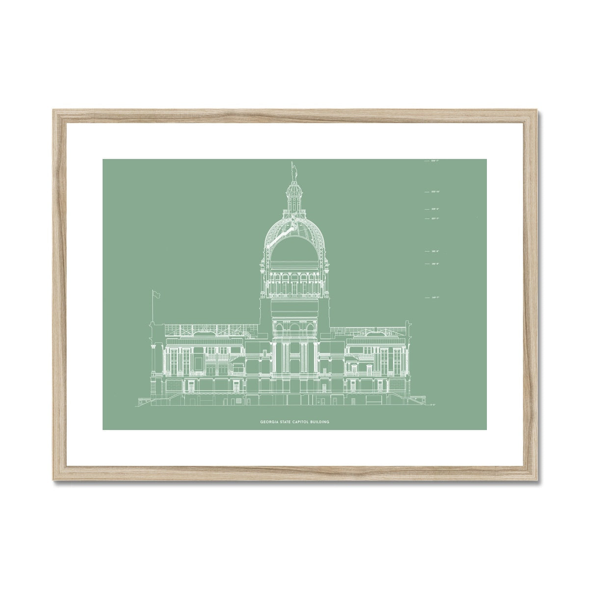 The Georgia State Capitol Building - North Elevation Cross Section - Green -  Framed & Mounted Print