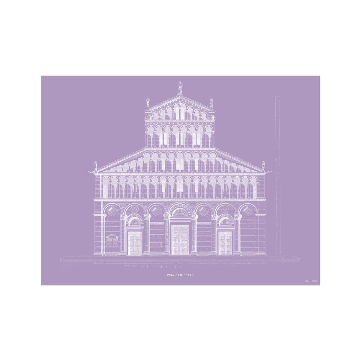 Pisa Cathedral - Primary Elevation - Lavender -  Etching Paper Print