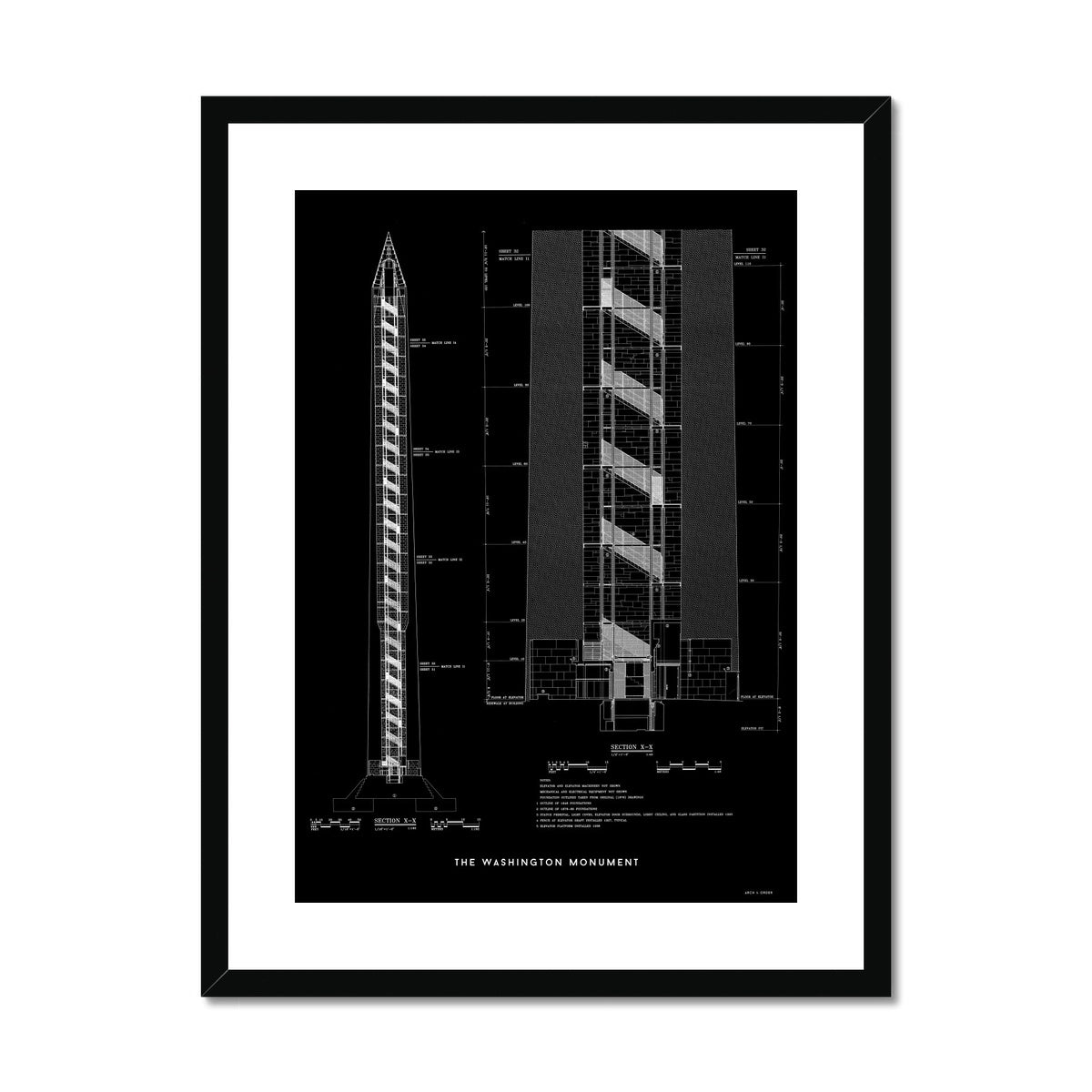 The Washington Monument Cross Section - Black -  Framed & Mounted Print