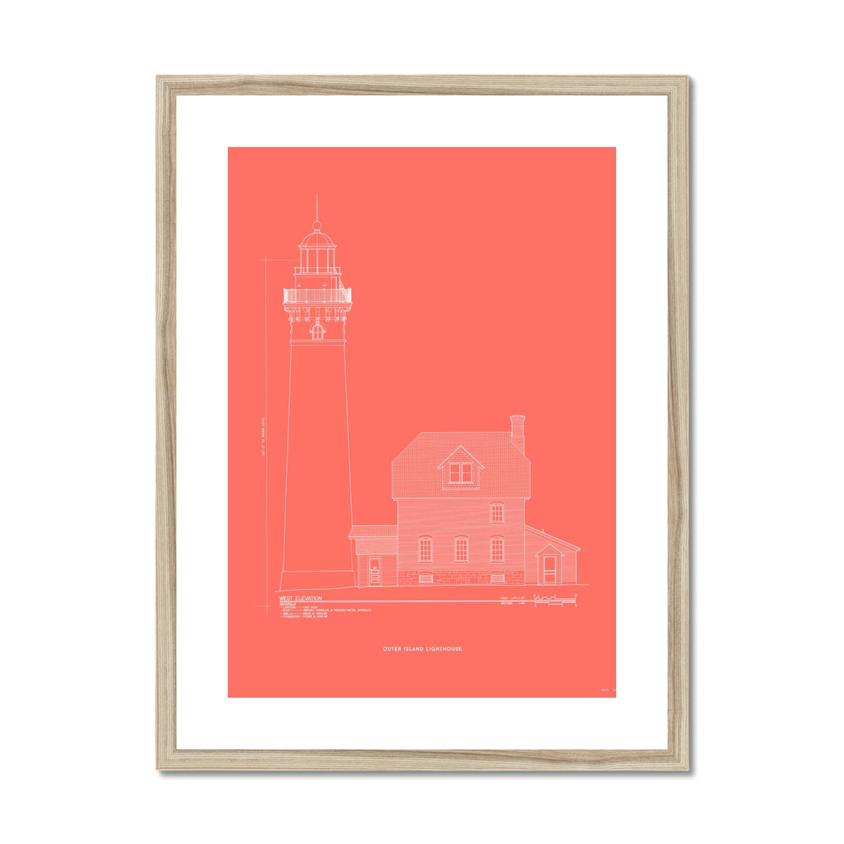 Outer Island Lighthouse - West Elevation - Red -  Framed & Mounted Print