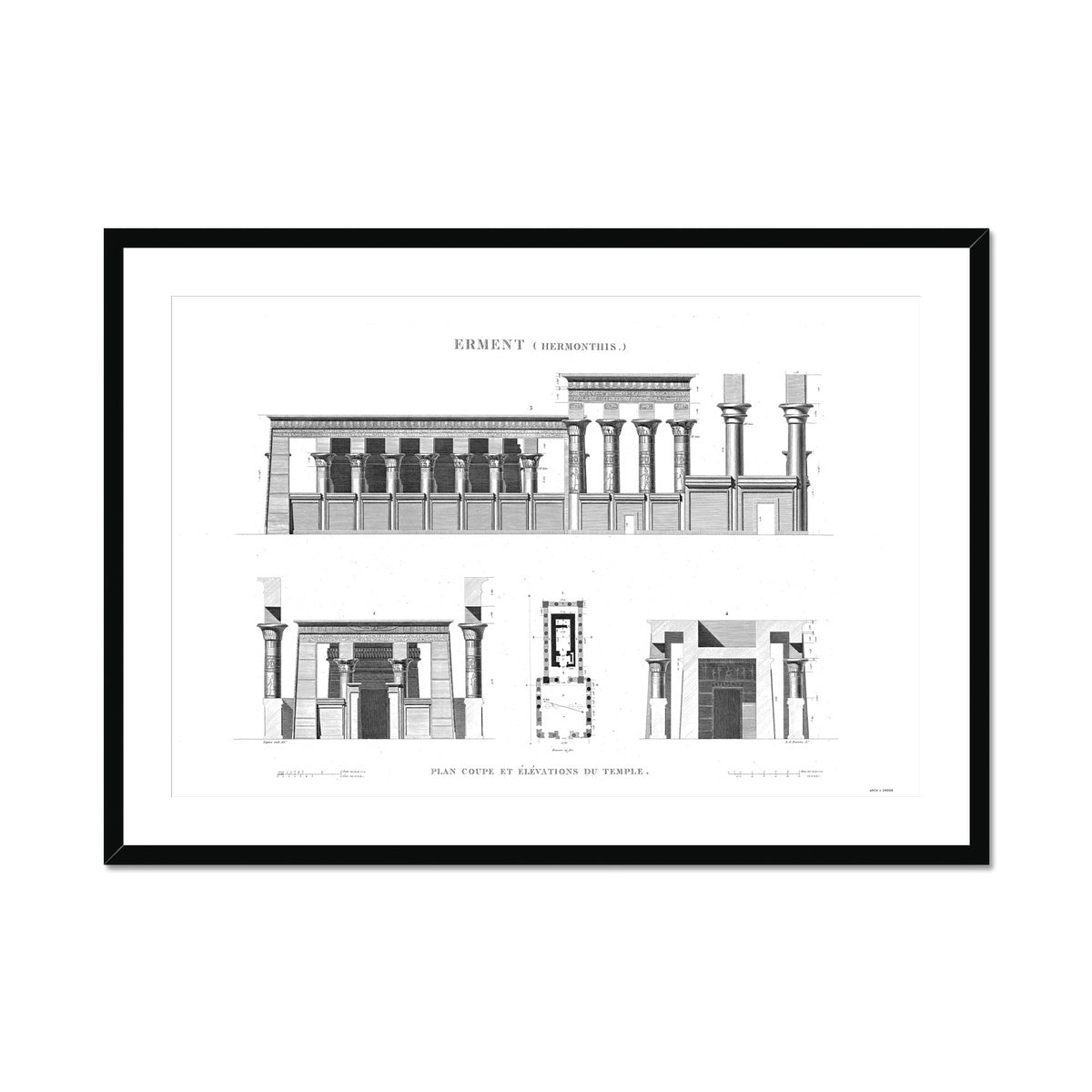 The Temple of Hermonthis Elevation - Armant Egypt -  Framed & Mounted Print