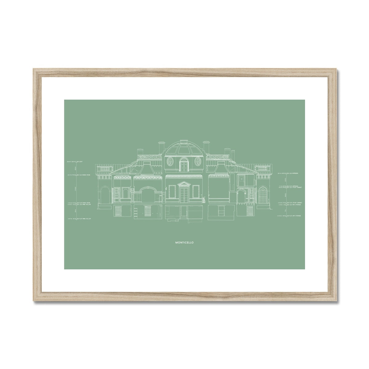 Monticello - West Elevation Cross Section - Green -  Framed & Mounted Print