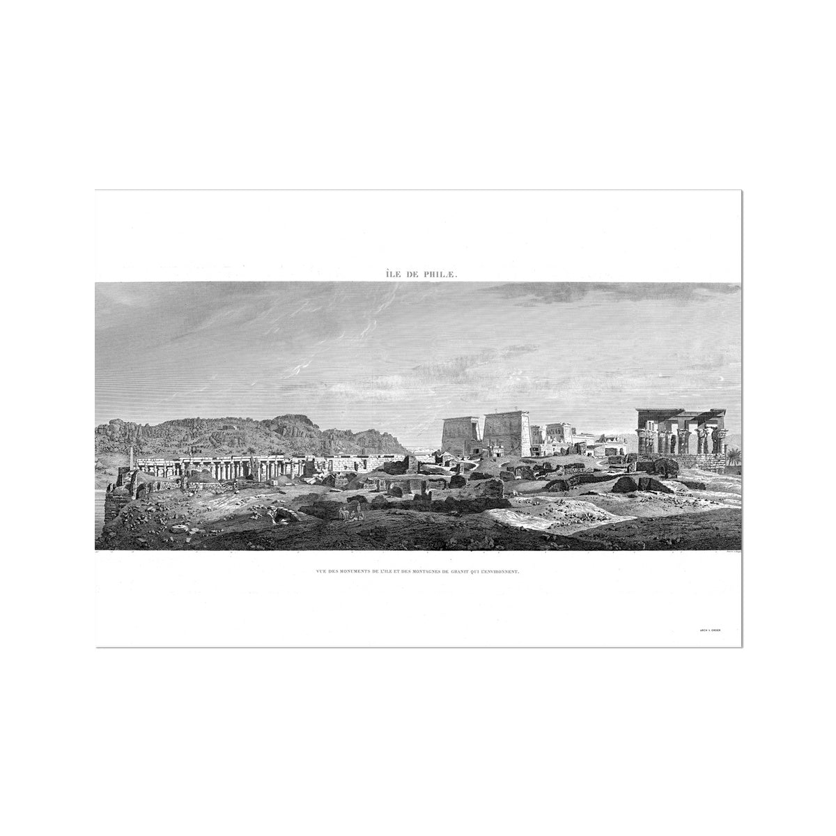 Temple of Isis Profile View - Philae Egypt -  Etching Paper Print