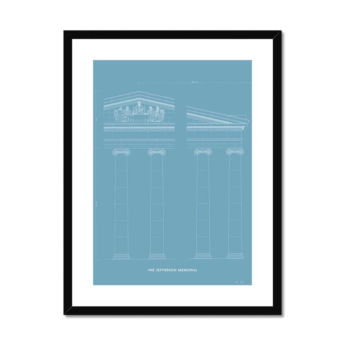 The Jefferson Memorial Portico Detail - Blue -  Framed & Mounted Print