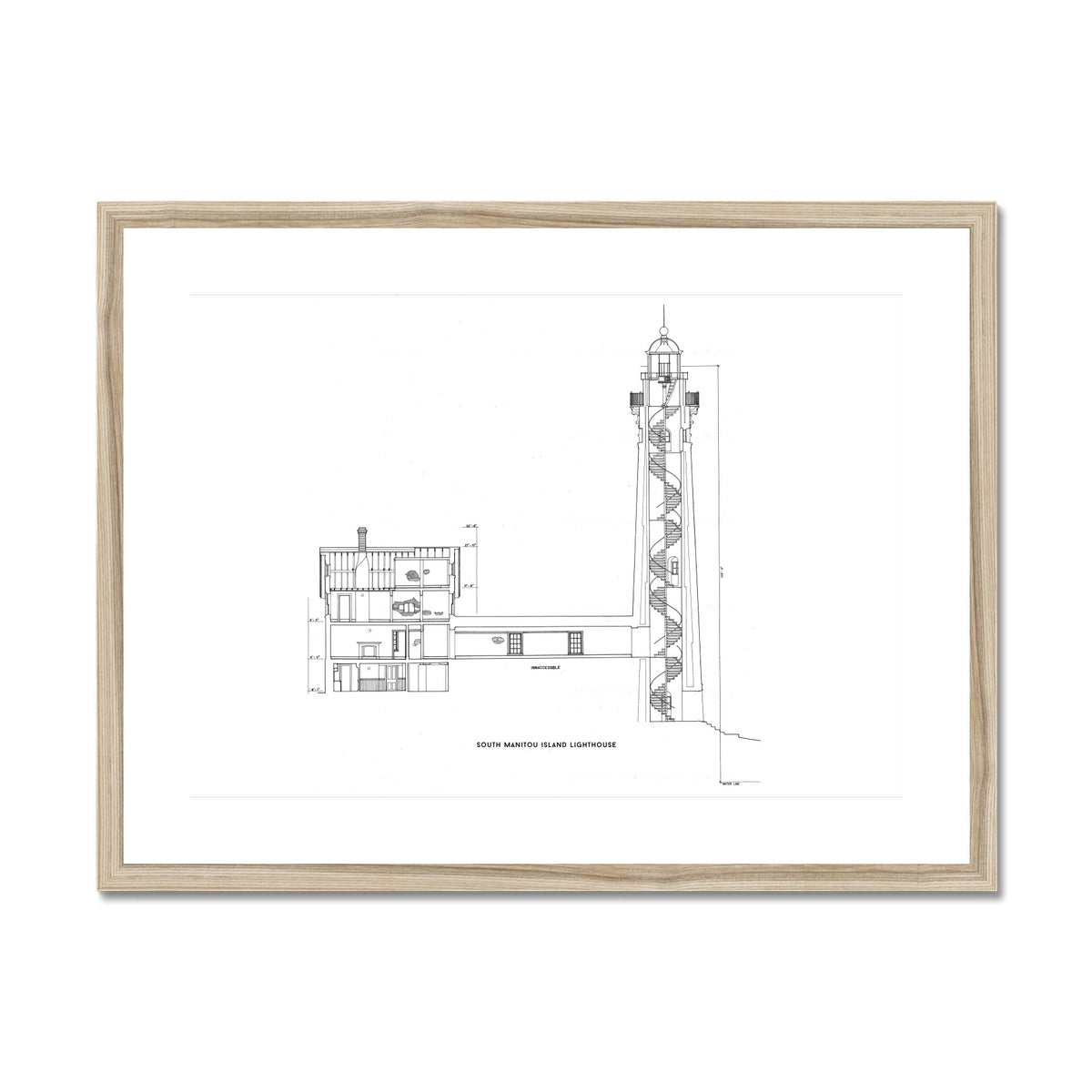 South Manitou Island Lighthouse - Cross Section - White -  Framed & Mounted Print