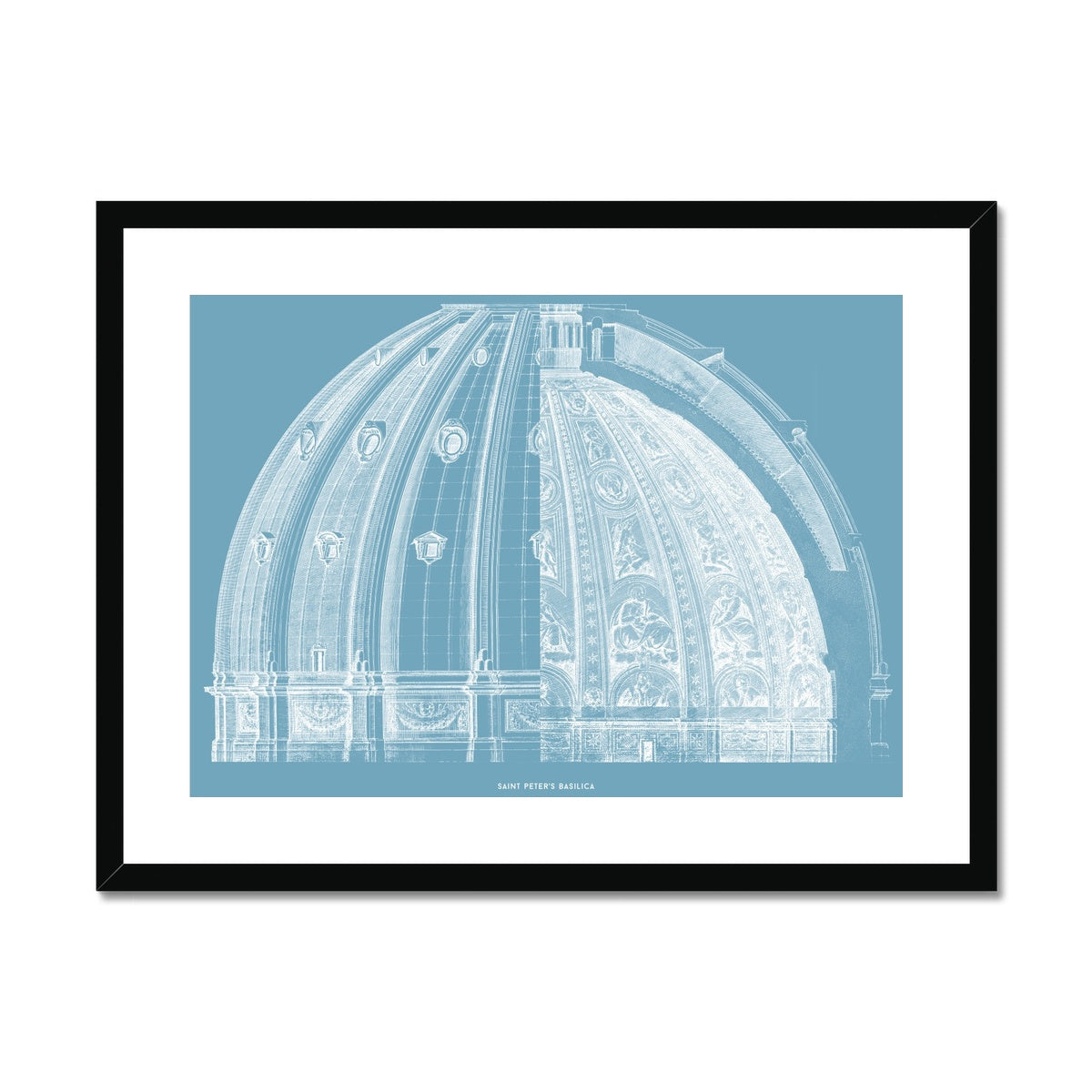 Saint Peter's Basilica - Dome Cross Section - Blue -  Framed & Mounted Print