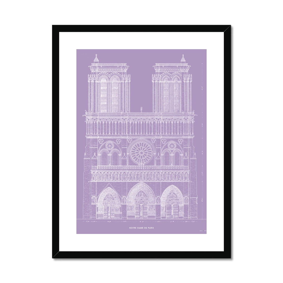 Notre Dame de Paris - Principal Elevation - Lavender -  Framed & Mounted Print