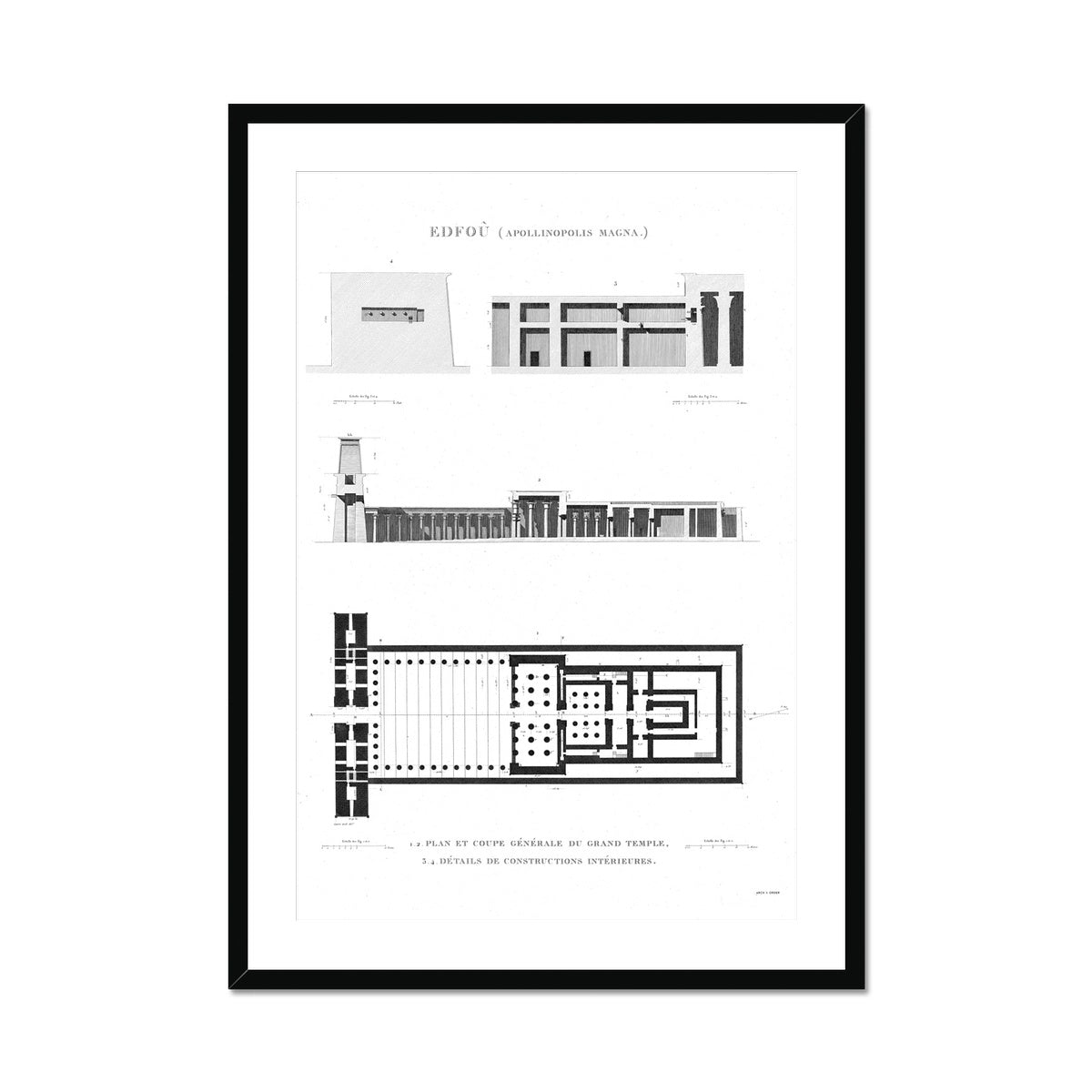 Temple of Horus Elevation and Floorplan - Edfu Egypt -  Framed & Mounted Print