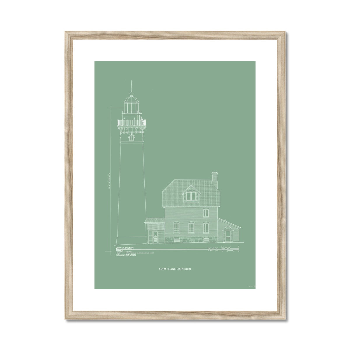 Outer Island Lighthouse - West Elevation - Green -  Framed & Mounted Print
