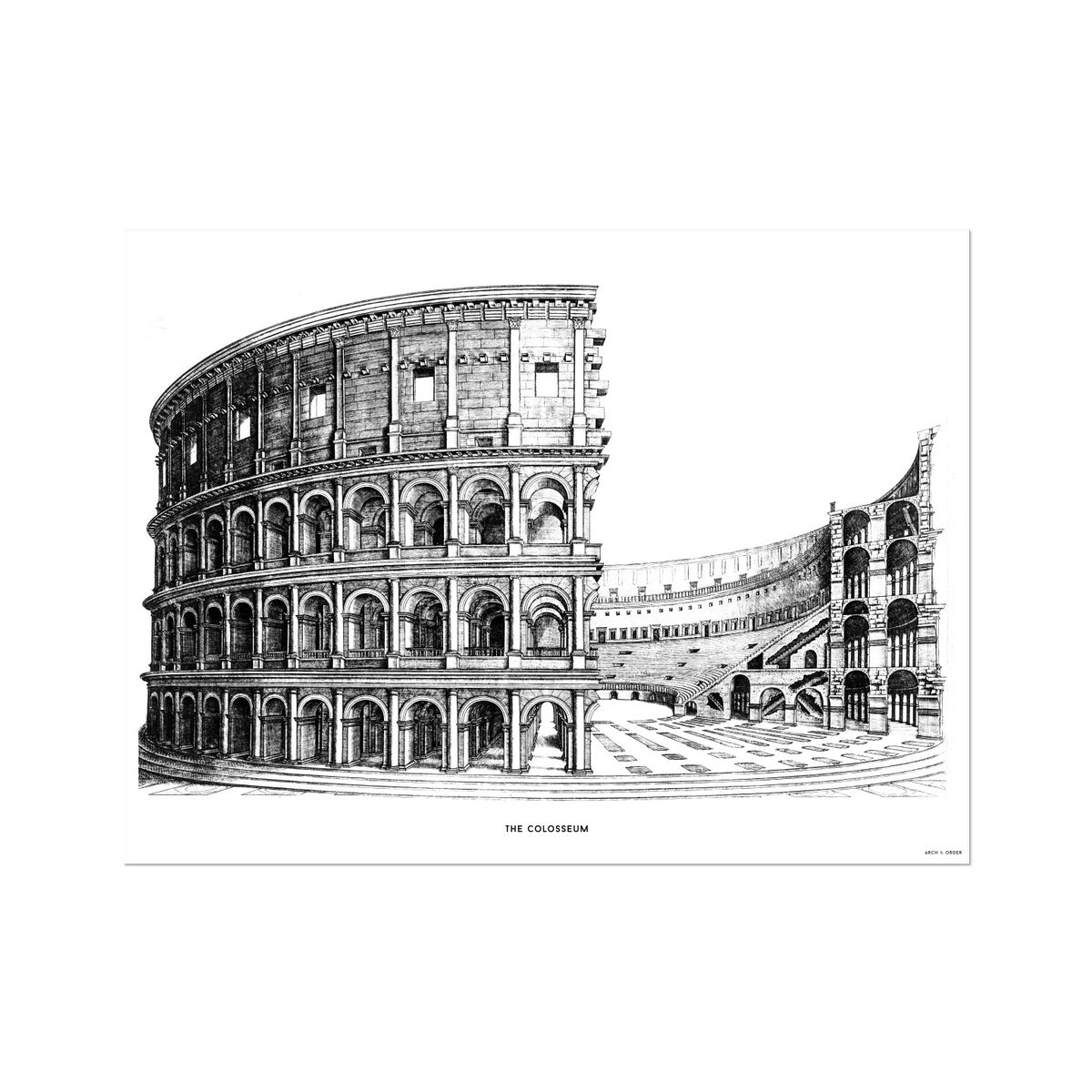 The Colosseum - Alternative Cross Section - White -  Etching Paper Print