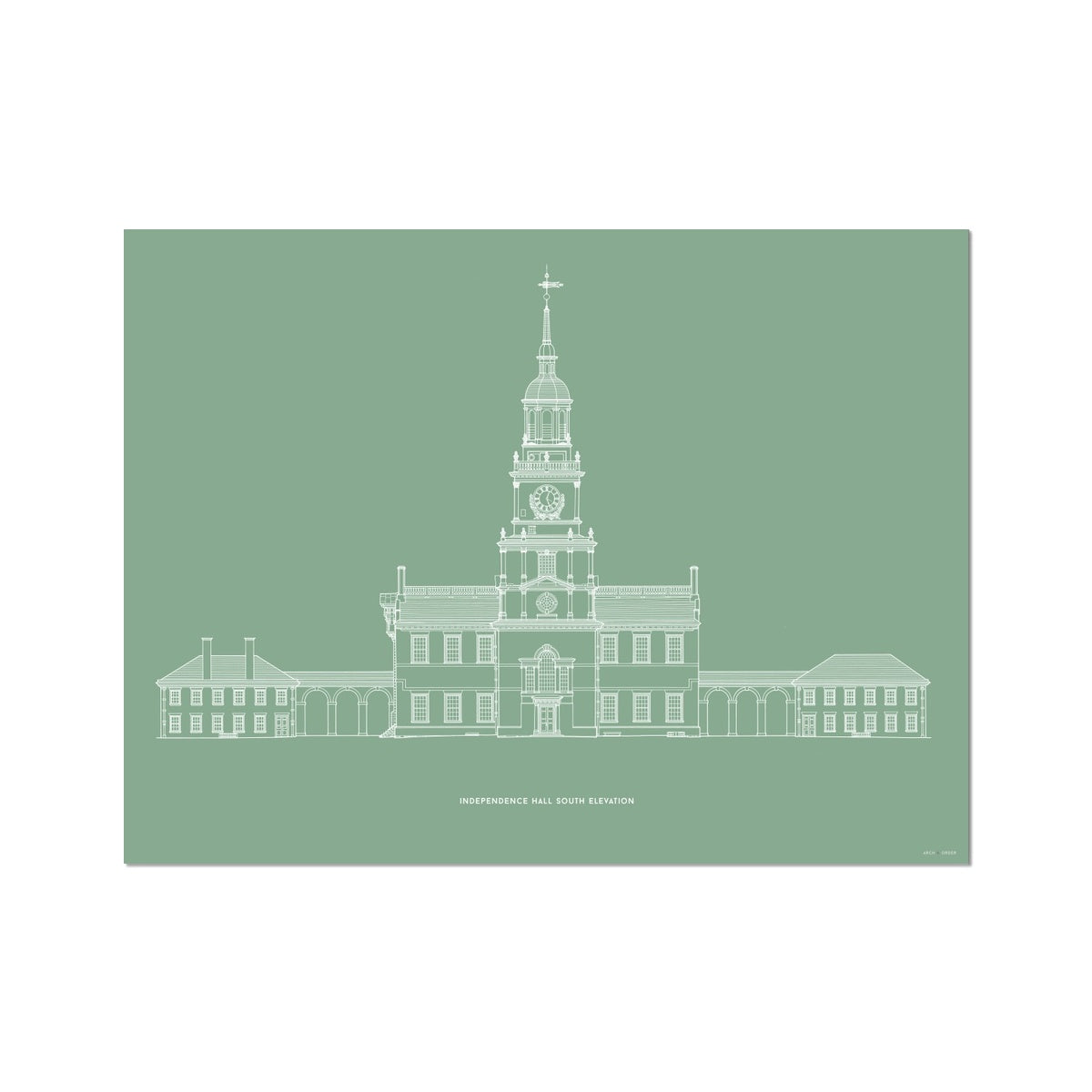 Independence Hall - South Elevation - Green -  Etching Paper Print