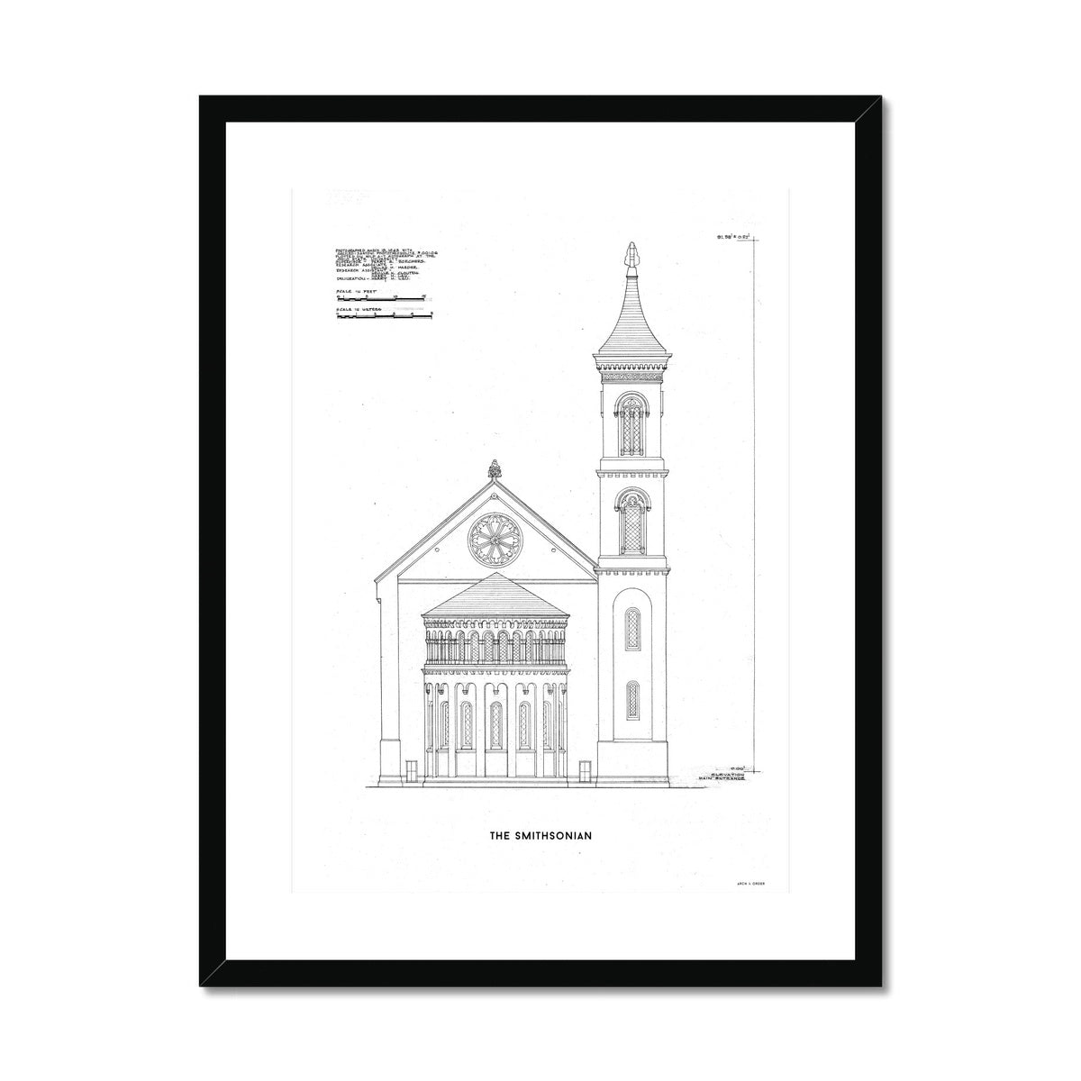 The Smithsonian West Wing Detail - White -  Framed & Mounted Print