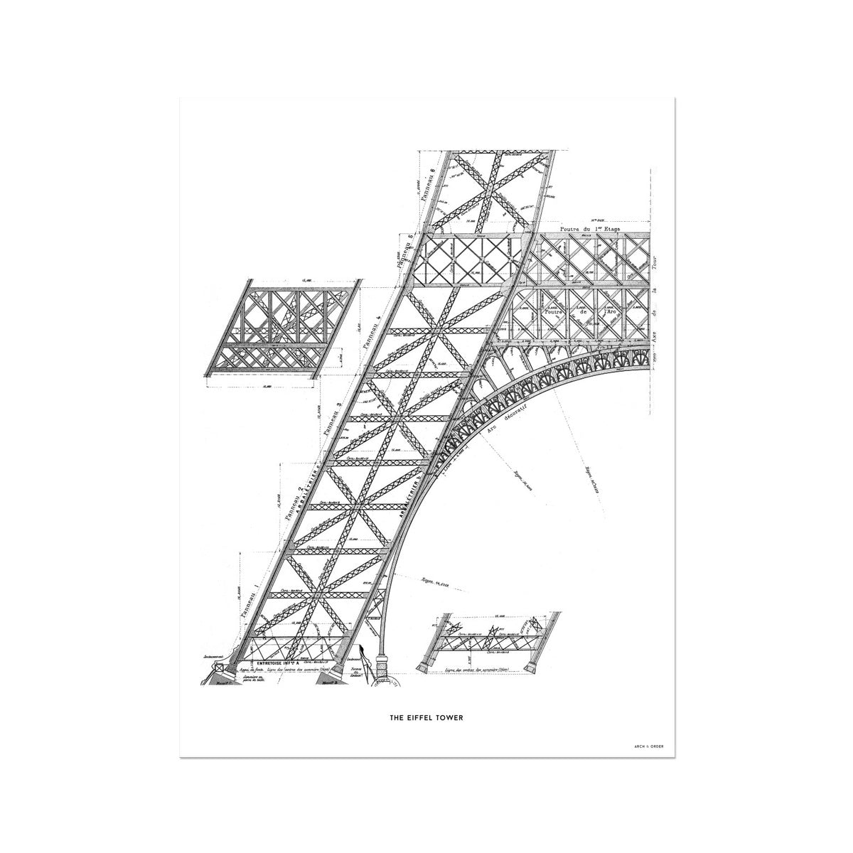 The Eiffel Tower - Base Section - White -  Etching Paper Print