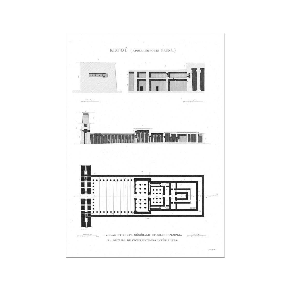 Temple of Horus Elevation and Floorplan - Edfu Egypt -  Etching Paper Print