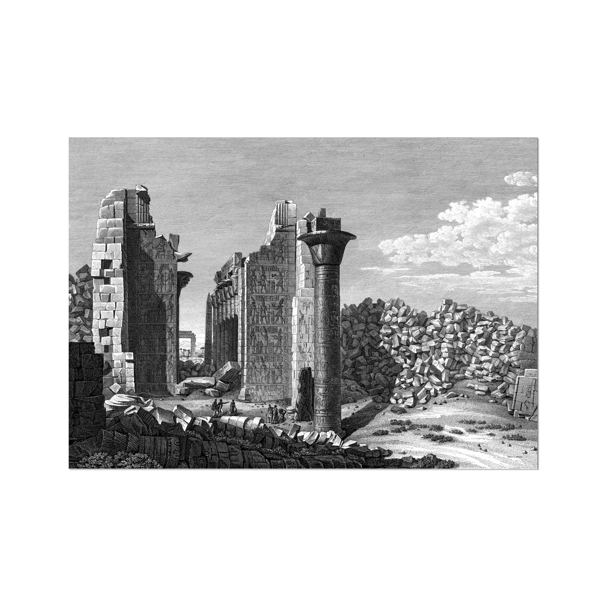 View of the Palace from the Courtyard - Karnak - Thebes Egypt -  Etching Paper Print