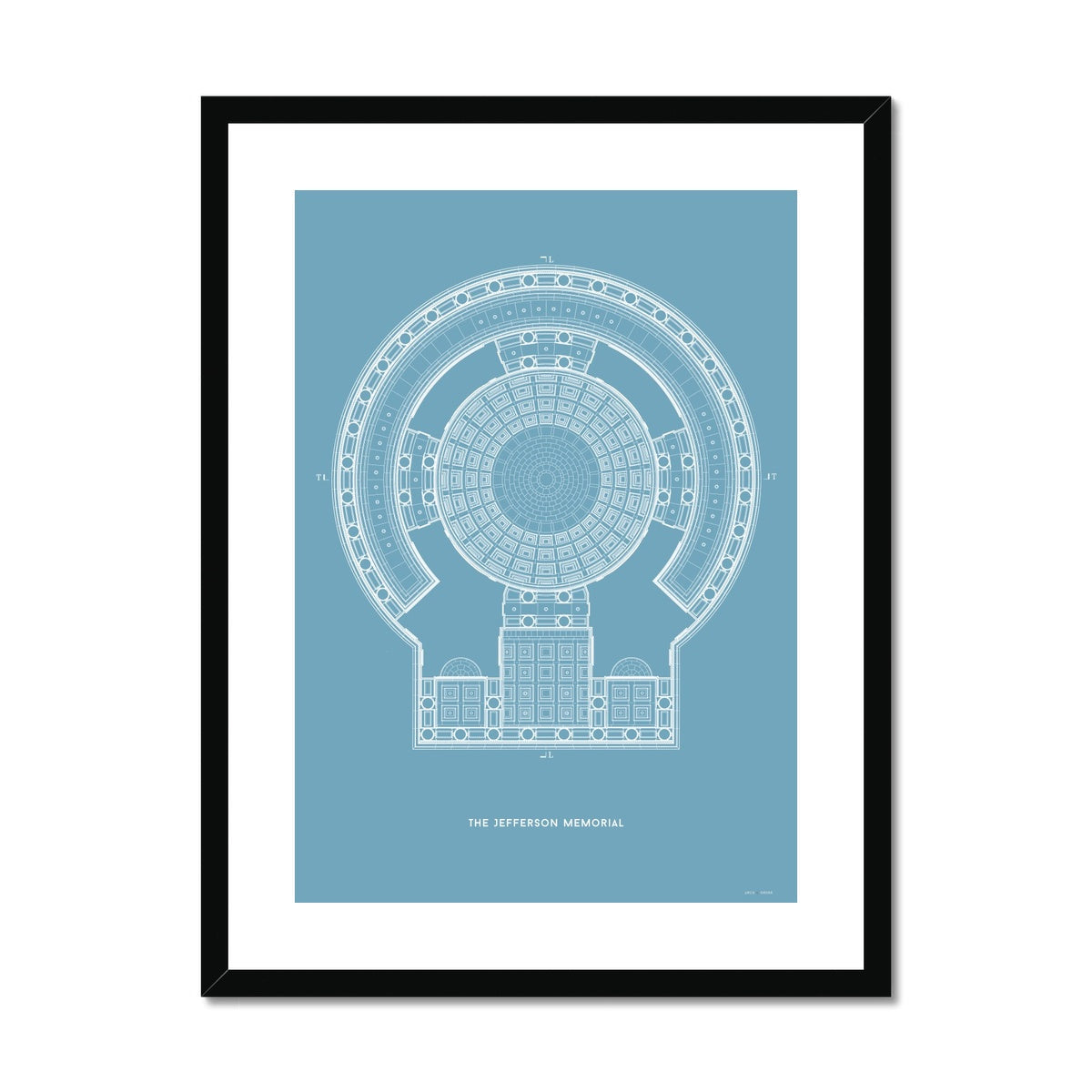 The Jefferson Memorial Reverse Ceiling Detail - Blue -  Framed & Mounted Print