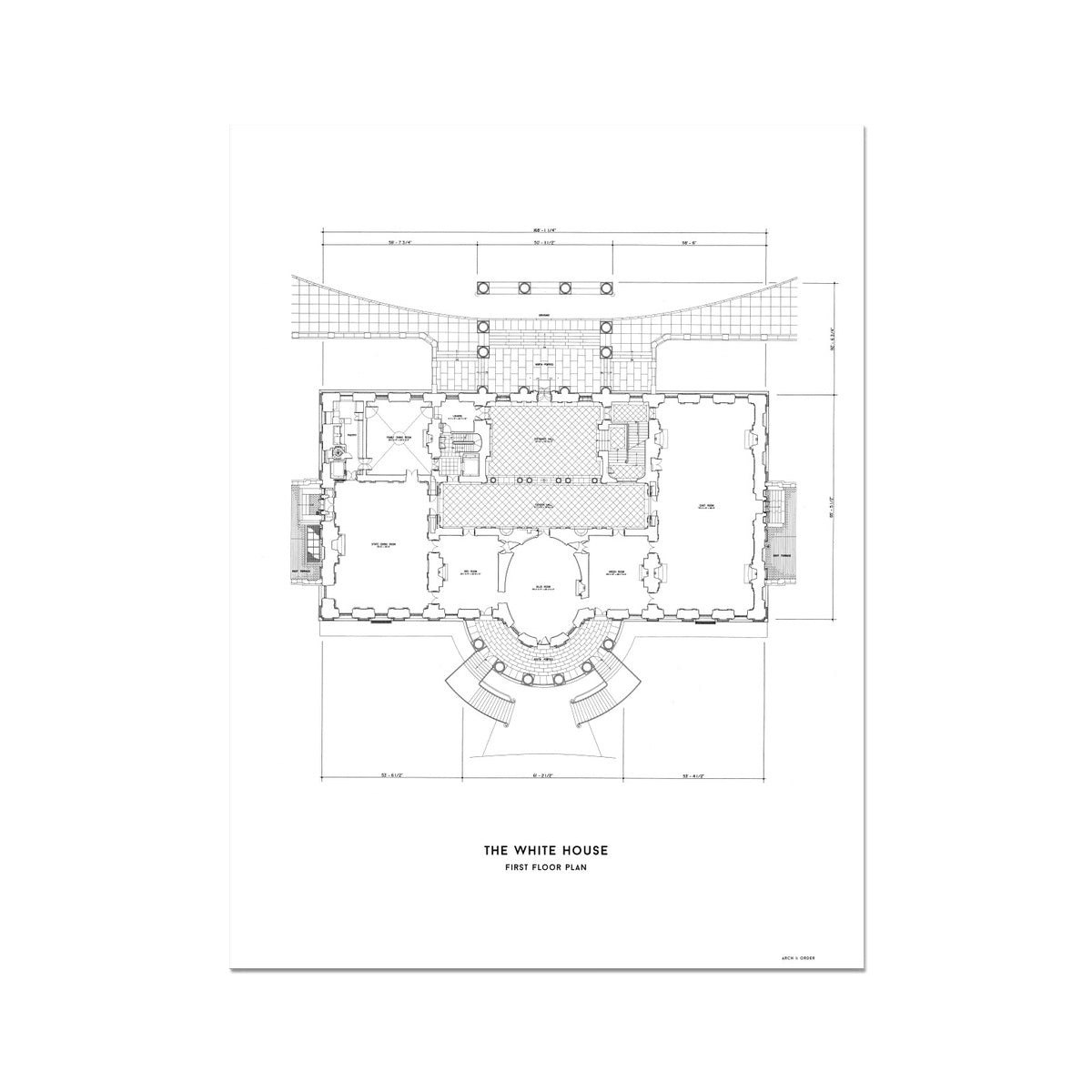 The White House First Floor Plan - White -  Etching Paper Print