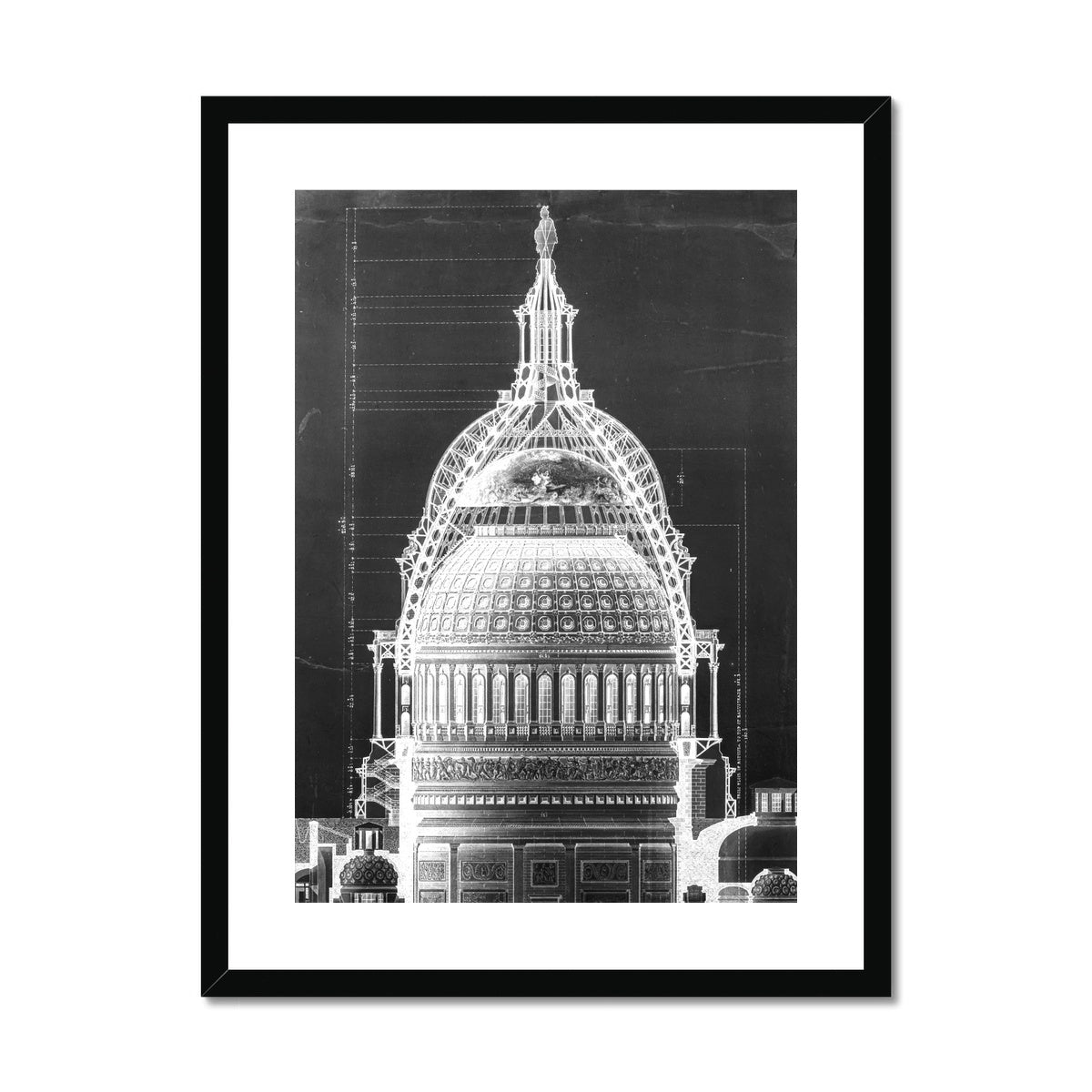 The U.S. Capitol Building - Dome Cross Section - Black -  Framed & Mounted Print
