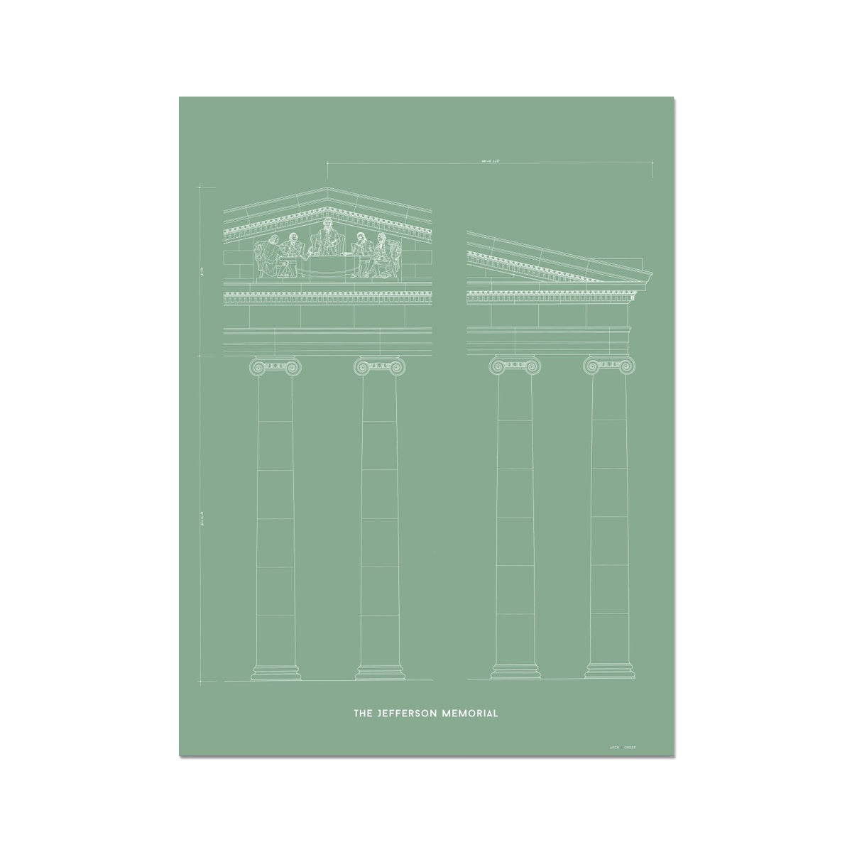 The Jefferson Memorial Portico Detail - Green -  Etching Paper Print