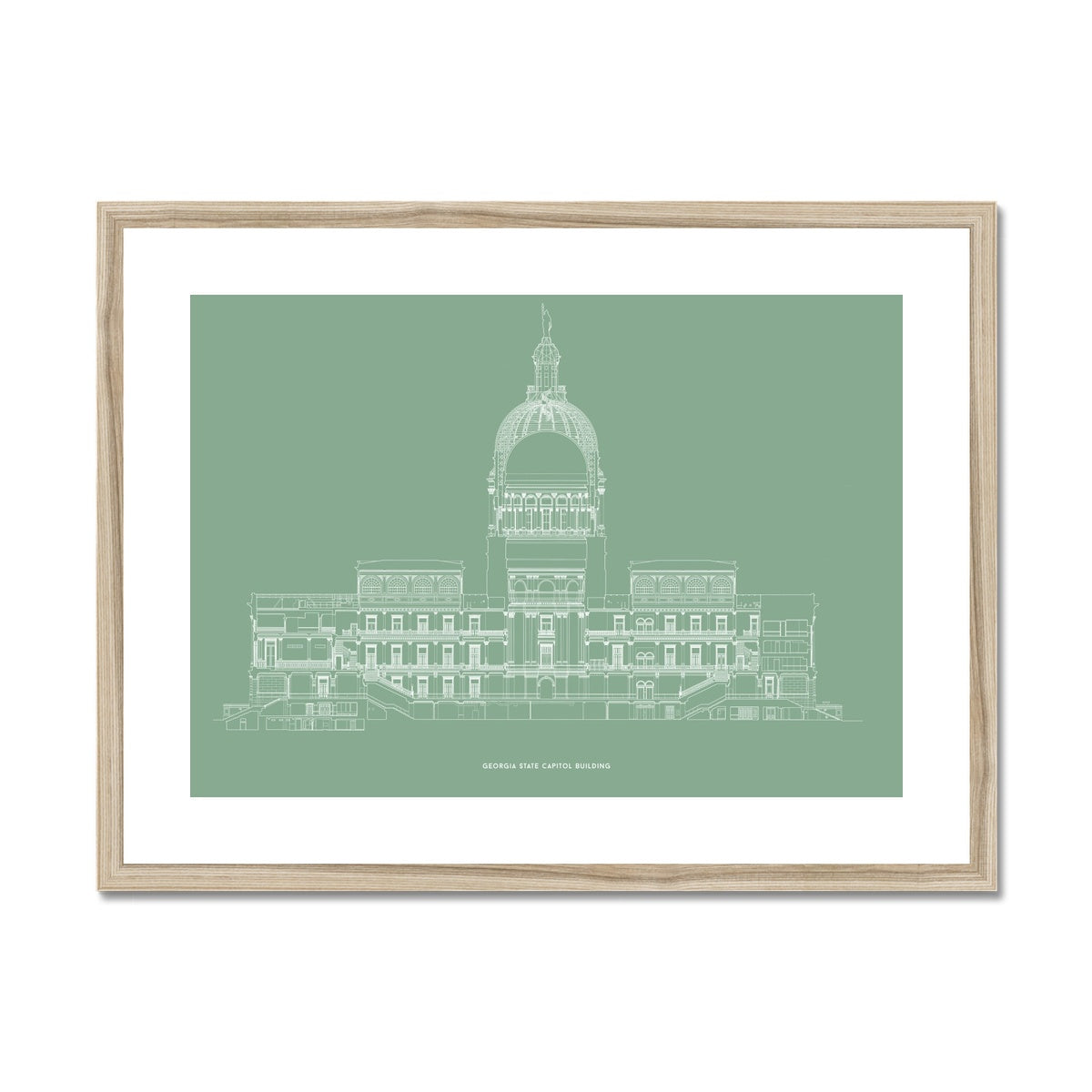 The Georgia State Capitol Building - West Elevation Cross Section - Green -  Framed & Mounted Print