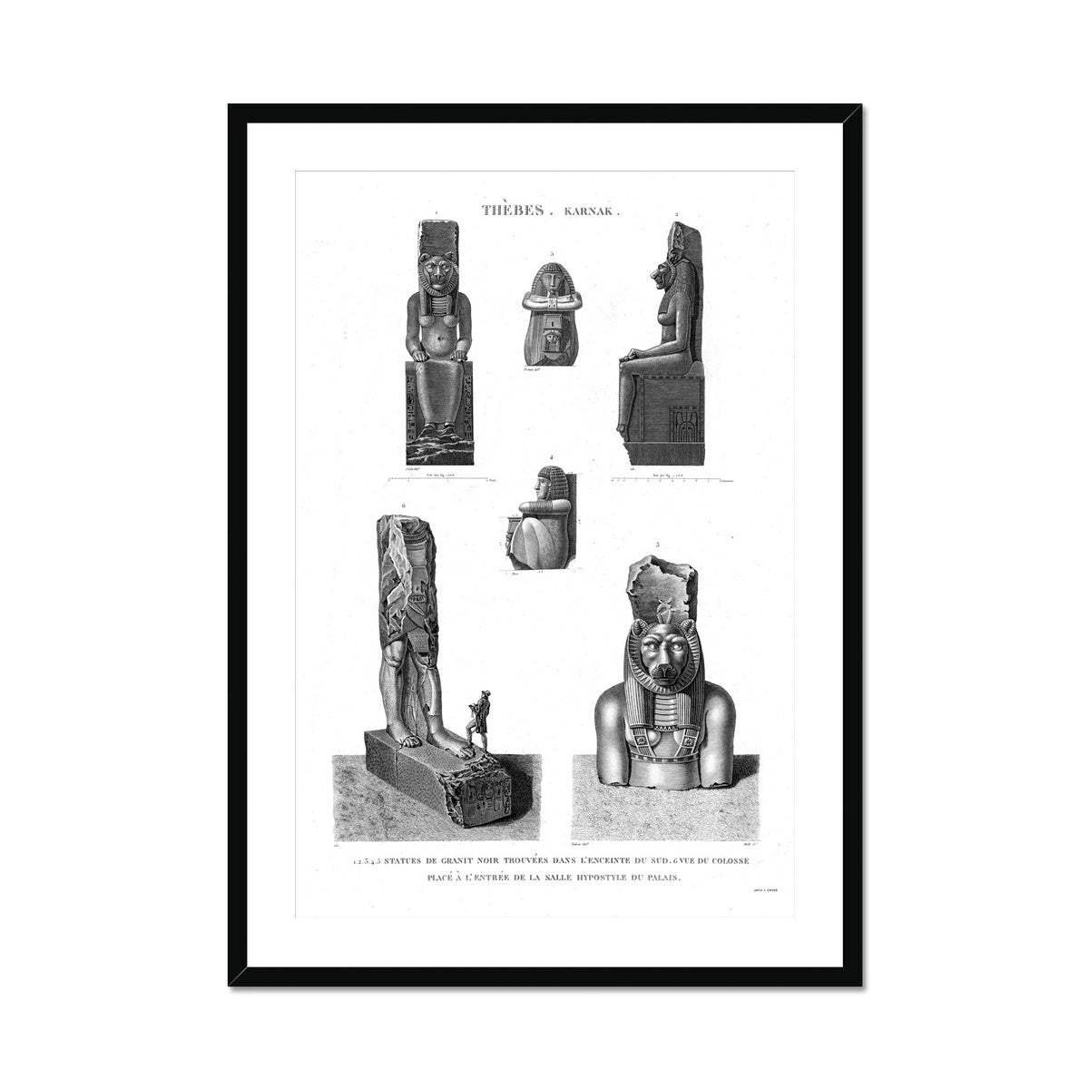 Black Granite Statues - Karnak - Thebes Egypt -  Framed & Mounted Print